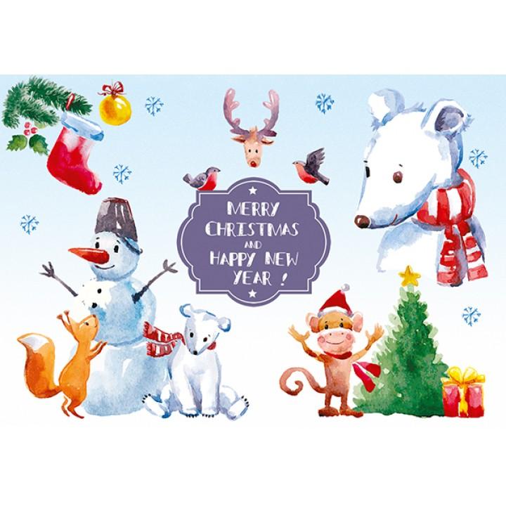 Merry Christmas. Watercolor heroes
