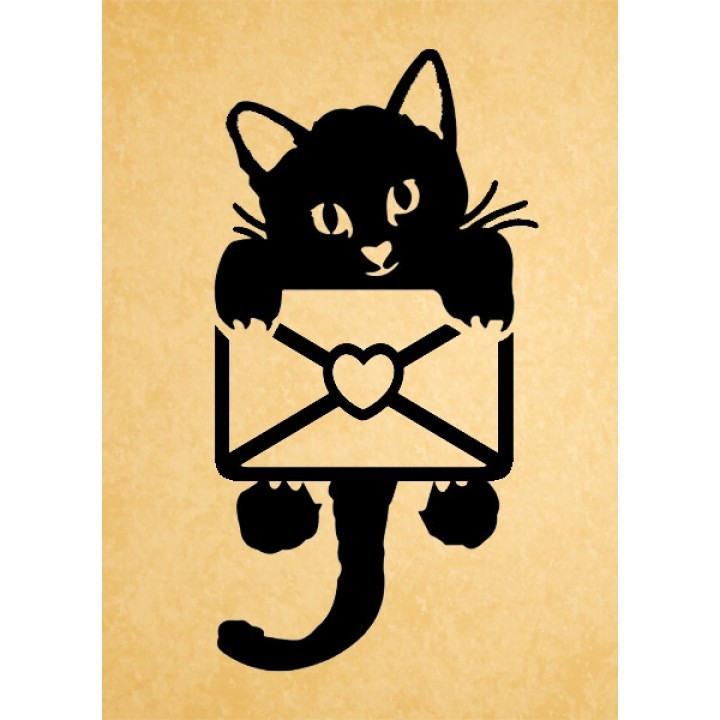 Stamp Cat and letter (20*45 mm)