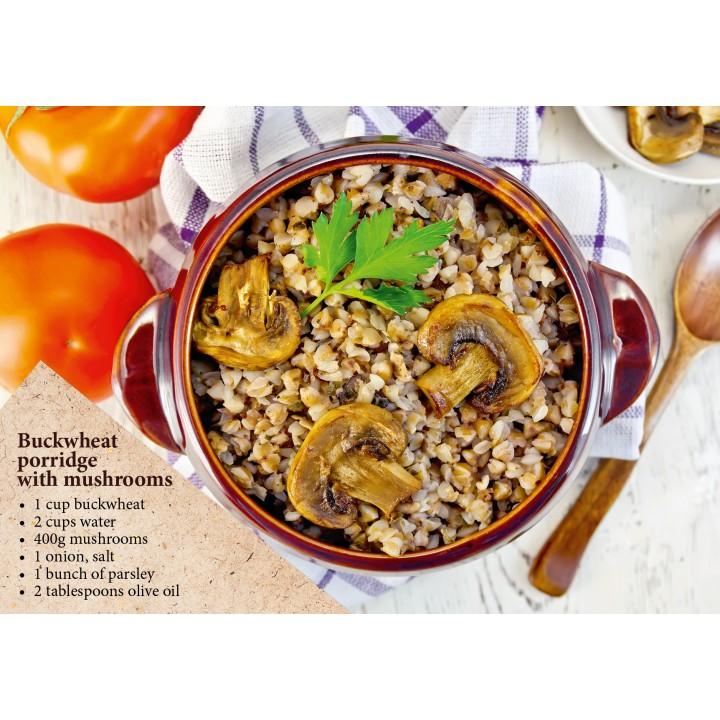 Postcard-recipe Buckwheat porridge with mushrooms (in English)