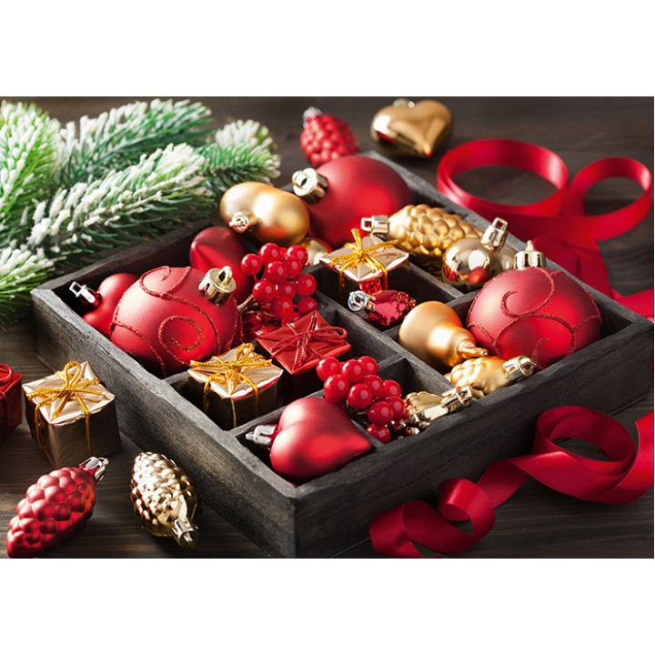 Red and gold Christmas toys