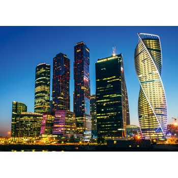 Buildings of Moscow City complex, Russia