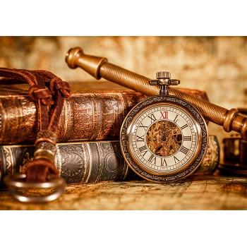 Antique clocks and books