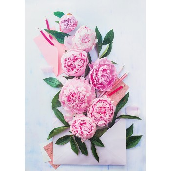 Peonies in envelope