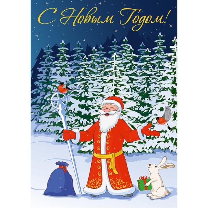 Russian Santa Claus and bunny