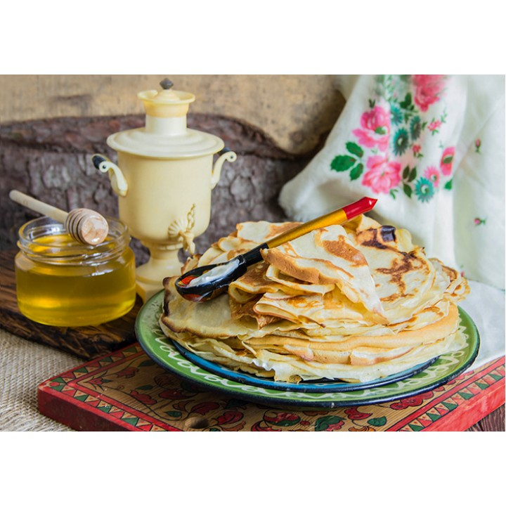 Russian breakfast with pancakes