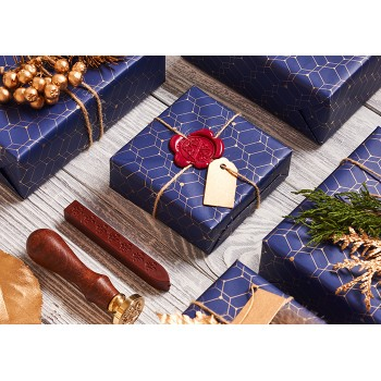Blue gifts with wax seal