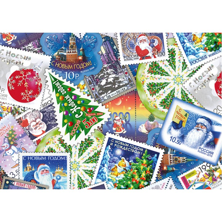 Collage of Russian Christmas stamps