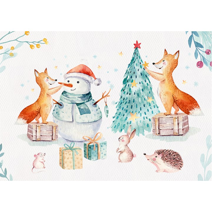 Foxes decorating Christmas tree