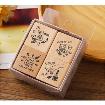 """Set of stamps """"Pretty girl"""" (4 pcs)"""