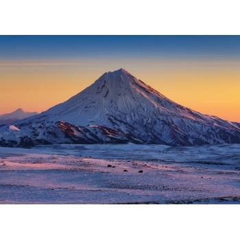 Snowcapped cone volcano, Kamchatka
