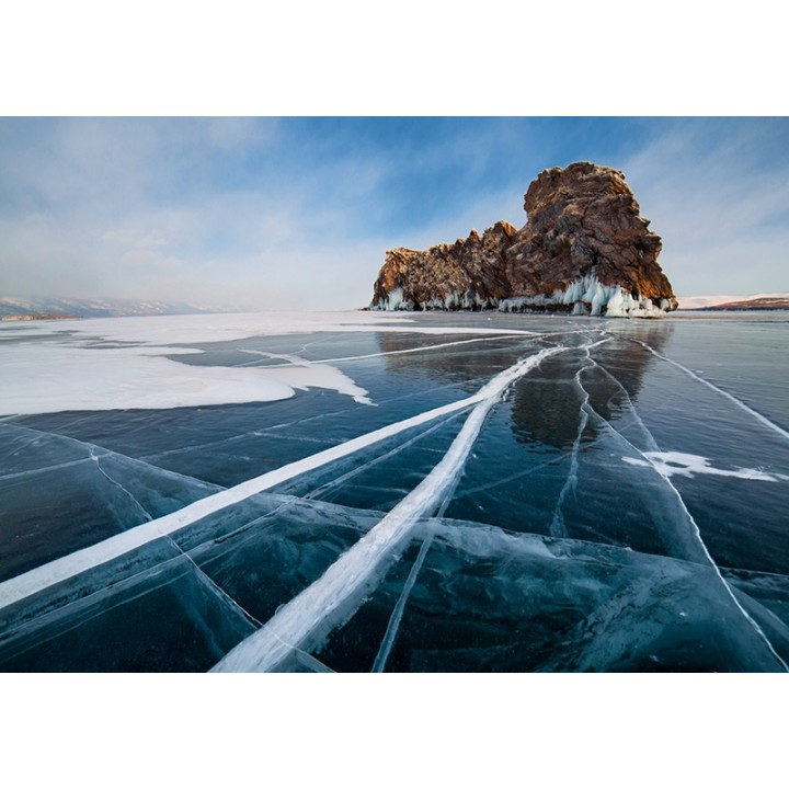 Frozen Baikal lake