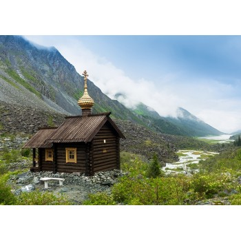 Wooden Orthodox church in the Altai mountains
