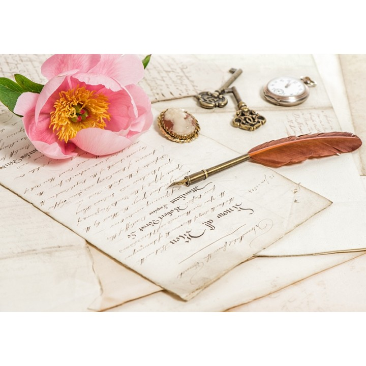 Old letters and pink peony flower