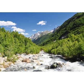 Mountains scene in National Park Dombai, Caucasus, Russia