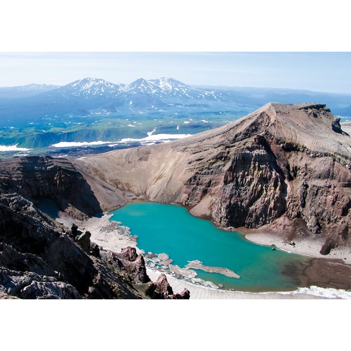 Crater lake in Gorely volcano, Kamchatka peninsula, Russia