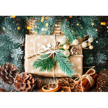 Gift and fir branches