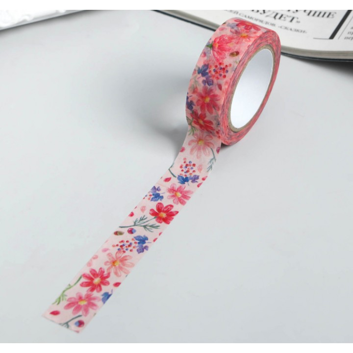 """Paper tape """"Garden flowers"""" (width 1.5 сm)"""