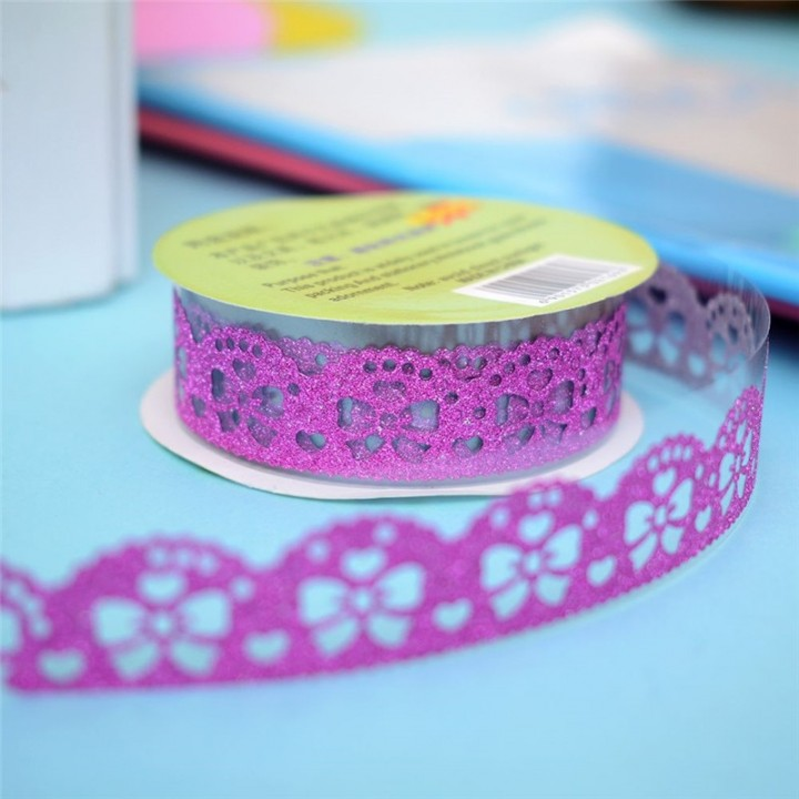 Tape-lace with shimmer PINK (random style, width 1.8 сm)