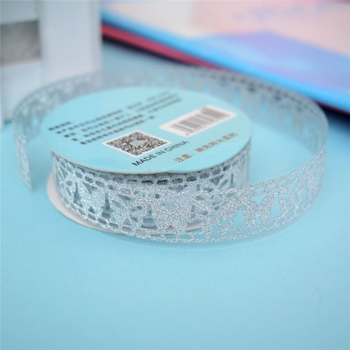 Tape-lace with shimmer SILVER (random style, width 1.8 сm)