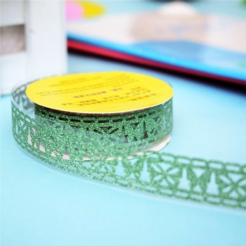 Tape-lace with shimmer GREEN (random style, width 1.8 сm)