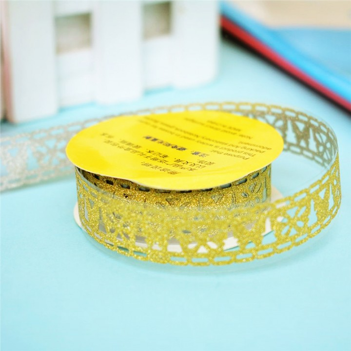 Tape-lace with shimmer GOLD (random style, width 1.8 сm)