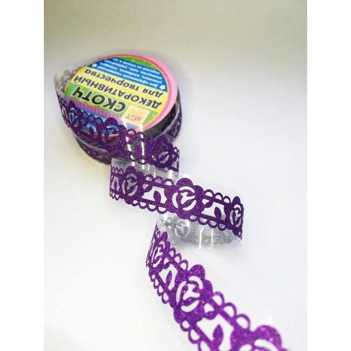 Tape-lace with shimmer PURPLE (random style, width 1.8 сm)