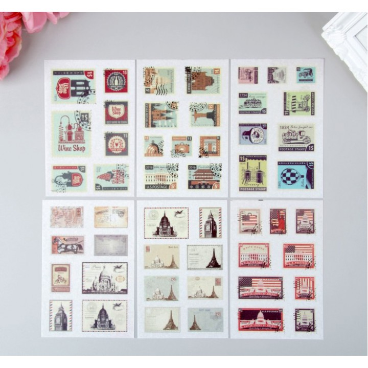 """Stickers """"Postal Stamps"""", 6 sheets (10 × 15 cm)"""