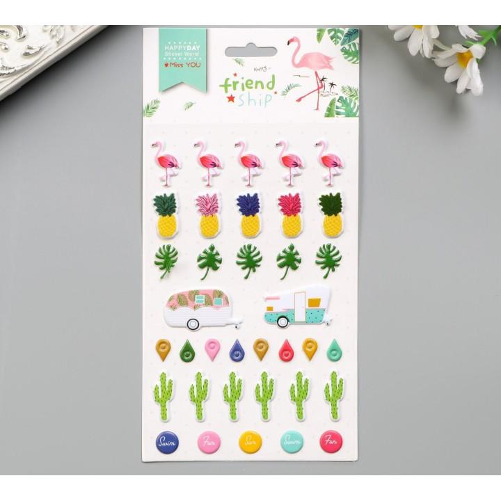 "Plastic stickers ""Flamingos, pineapples and cacti"" (10 x 16 cm)"