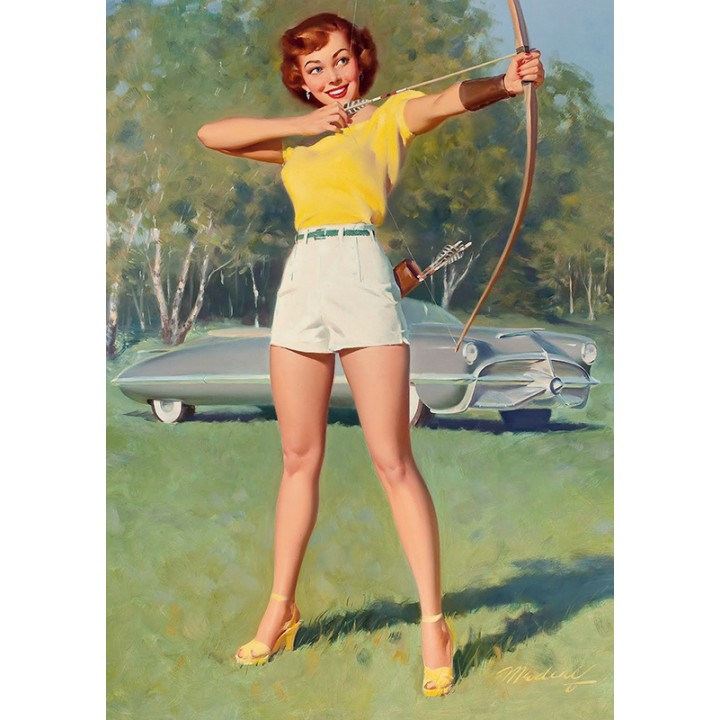 Pin Up. Bow and arrows