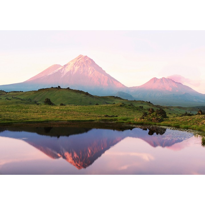 View of volcanoes, Kamchatka