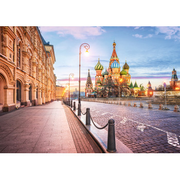 Sunrise at Saint Basil's Cathedral in Moscow