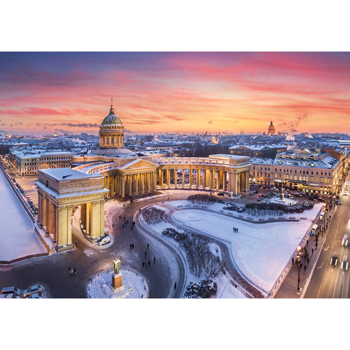 Sunset and Kazan Cathedral in St. Petersburg