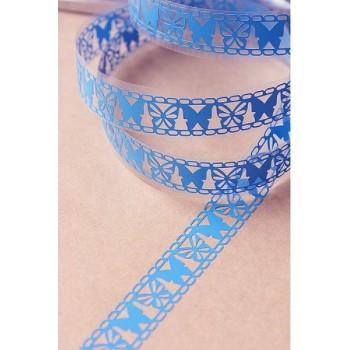 Tape-lace BRIGHT BLUE (butterfly pattern, width 1.8 cm)
