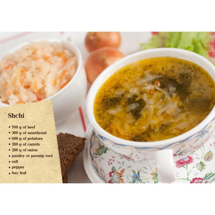 Postcard-recipe Shchi  (in English)