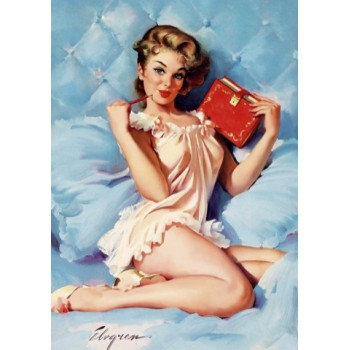 Pin Up. With a book.