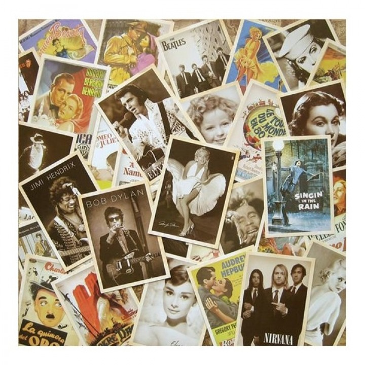 Music and movies stars (32 postcards, 14*10 сm)